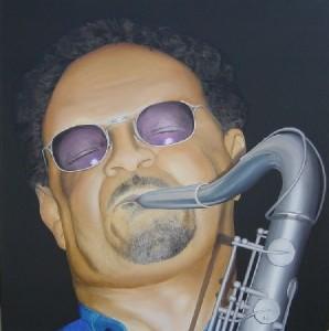 Sax - Painting by Jeremy Daynes